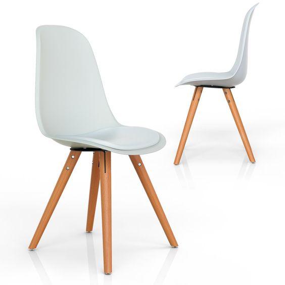 Vimes Design Stuhl Esszimmerstuhl Wohnzimmerstuhl Retro Möbel grau ...