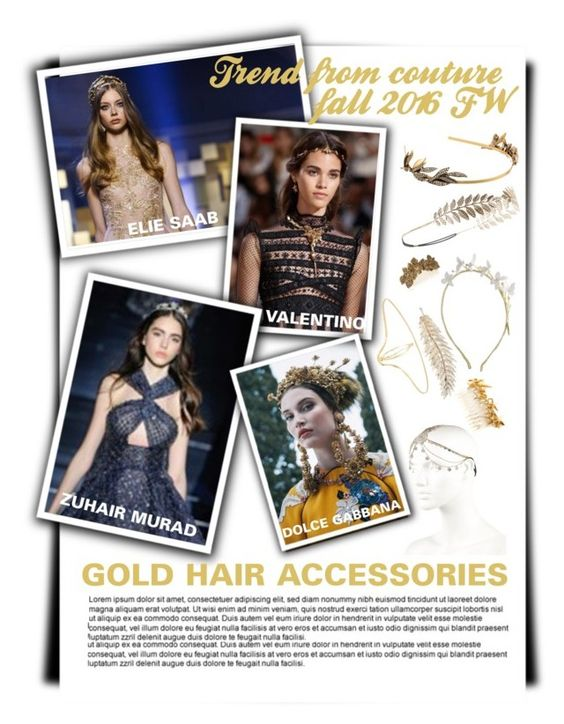 """trend ffrom PCFW fall 16: gold hair accessories"" by esterp on Polyvore"