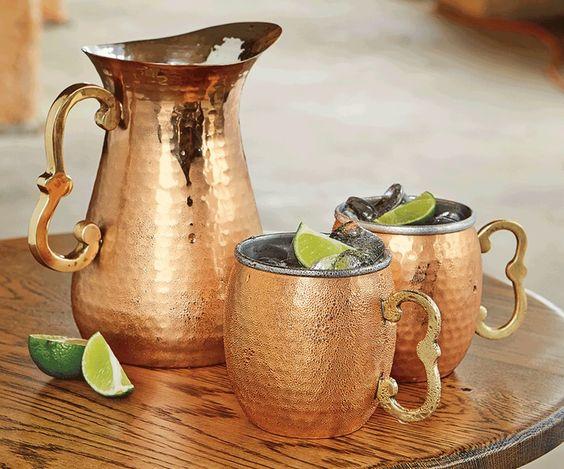 Hammered Copper Mugs & Pitcher