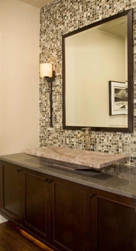 powder room square sink tile backsplash bathrooms