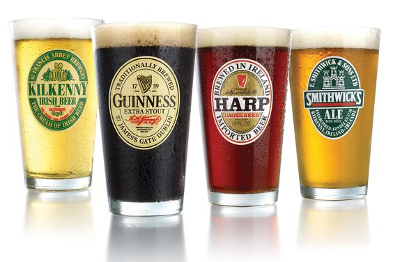 Irish 4 Piece Beer Label 16 Oz. Pub Glass Set