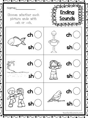 10 39 Ch 39 And 39 Sh 39 Ending Sounds Printable Worksheets In A Pdf File Prek Digraphs Worksheets Kindergarten Phonics Worksheets Literacy Worksheets