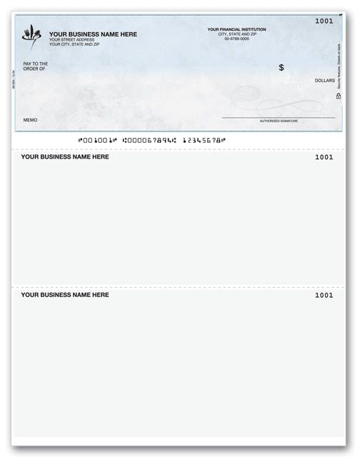Laser Printer 3-on-a-Page Check, Lined, Hole-punched Item Number - payment advice slip
