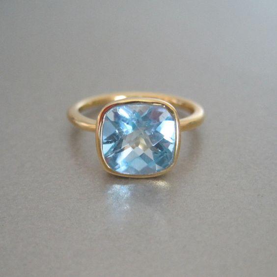 Blue Quartz Square Gold Ring