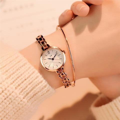 Relógios feminino dourado estilo romântico, pequeno e pulseira delicada
