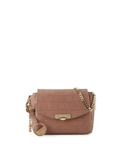 V32HK Versace Collection Crocodile-Embossed Leather Crossbody Bag, Taupe
