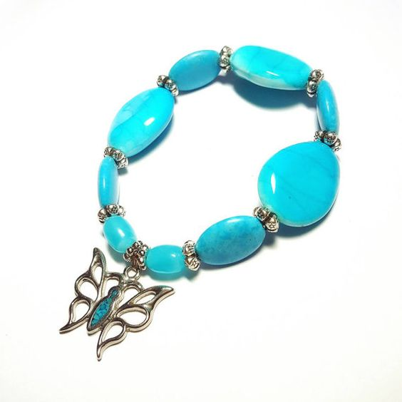 Only $8.99! - SALE Bohemian Vintage Silver Real Turquoise Flakes Butterfly Pendant Stretch Bracelet w/Oval Droplet Turquoise Streaked Beads & Cloud Design Soft Finish Beads FREE USA SHIPPING https://www.etsy.com/listing/293350533/sale-bohemian-vintage-silver-real  #TurquoiseBracelet #JellyBeanBeads #SilverButterflyPendant #RealTurquoiseFlakes #TurquoiseBracelet #DYIJewelry #EtsyJewelrySale #EtsyShop  #HandmadeJewelryGifts #GiftsForHer