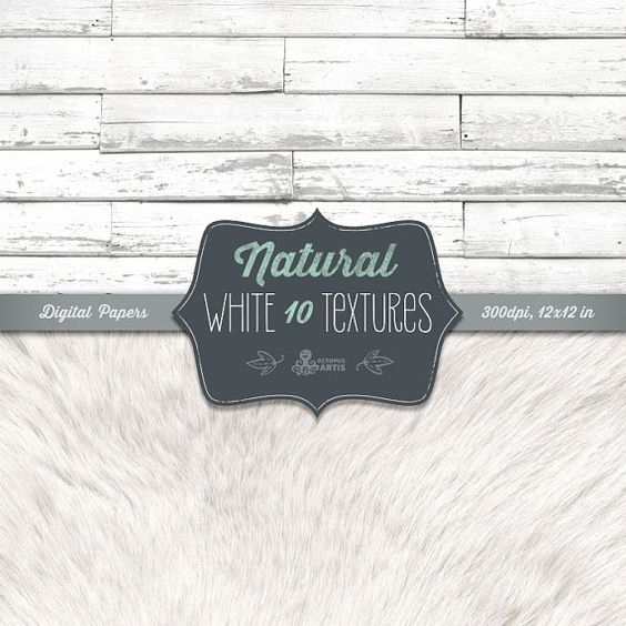 Natural White Textures: 10 Digital Papers (wood, stones, fur, fabric, burlap). Vintage, shabby, rustic, distressed, white paper, scrapbook.