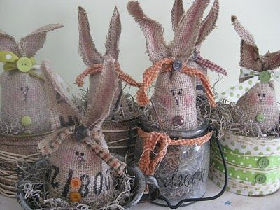 Love these burlap bunnies