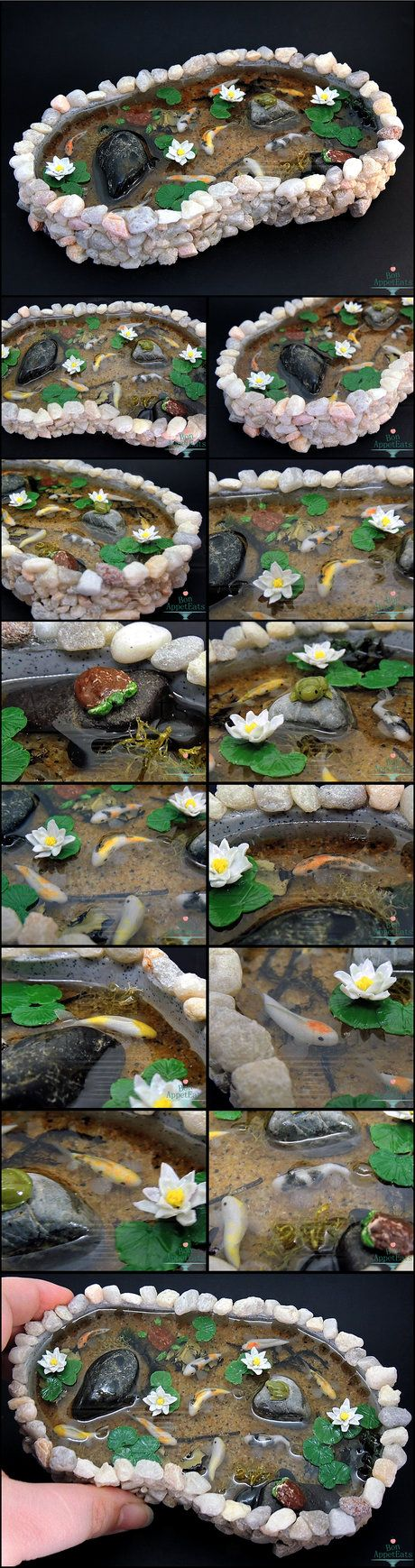 Commission for a large stone pond with 9 koi fish one for Stone koi pond