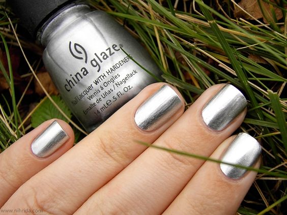 China glaze millennium chrome nailpolishh pinterest for Vernis miroir argent