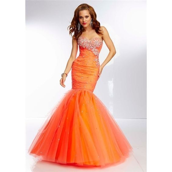 elegant one shoulder long neon orange chiffon beaded prom dress