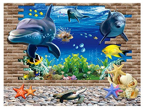 papier peint 3d intiss pais poster g ant trompe l 39 il fond marin les dauphins. Black Bedroom Furniture Sets. Home Design Ideas