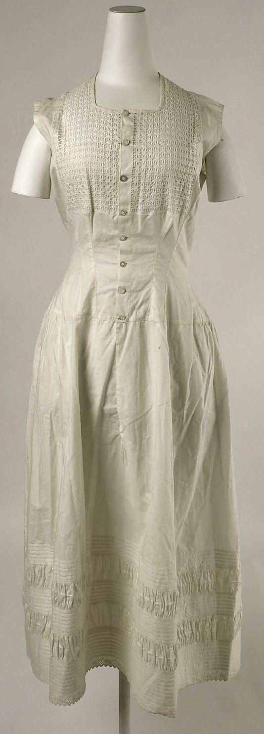 Cotton chemise with drawn thread-work detail, probably American, late 1880s.