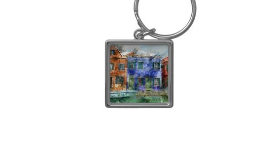 Burano near Venice Italy island canal with small Keychain Collectible Keycahins. Keychain Gift Idea. Gift idea for new car.