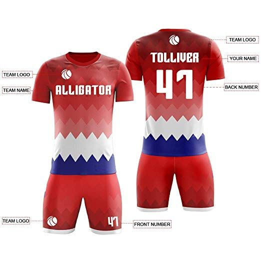 Custom Red And White Crew Neck Soccer Jerseys Print Number Name And Logo 39 99 44 99 Soccer Jersey Custom Soccer Personalized Soccer