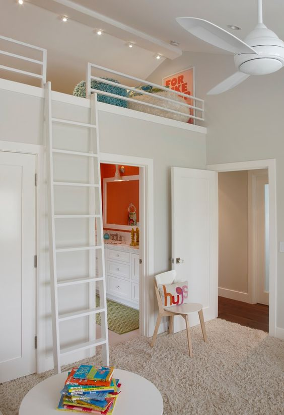 Loft bed over bedroom door - underneath bed is closet/dressing area, which leaves the rest of the room for play. Description from pinterest.com. I searched for this on bing.com/images