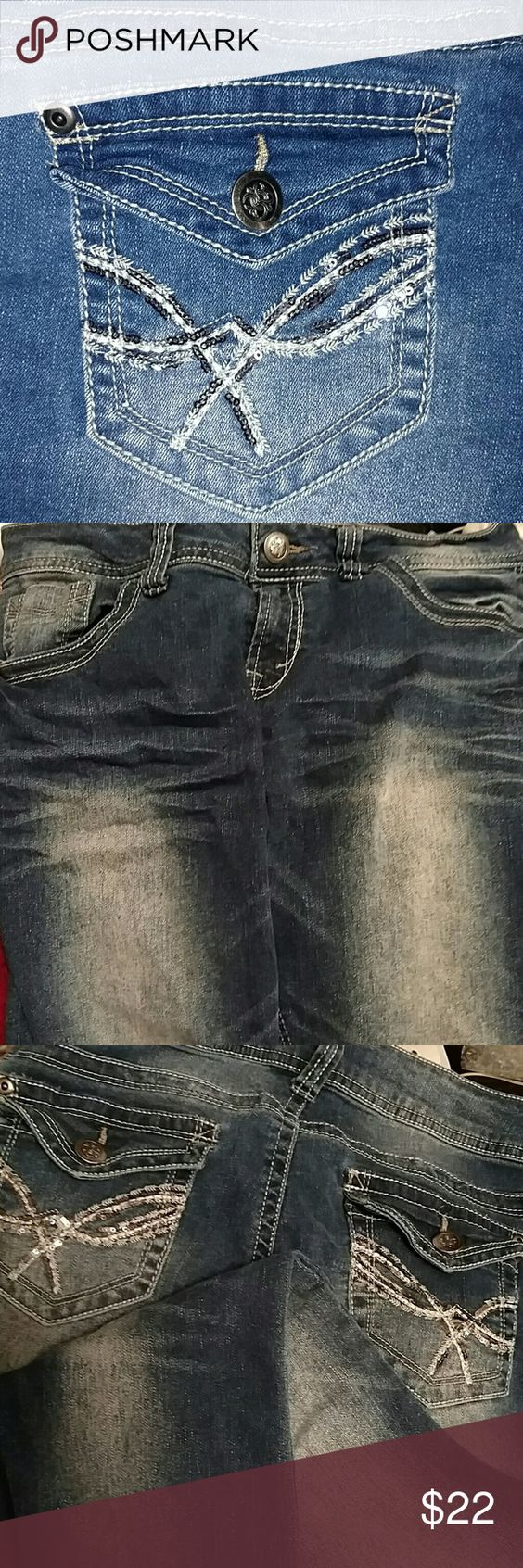 """Trendy Jeans w/ Dark & Light Wash Design as Shown Pic #3 shows Contrast of Jeans Colors Excellent Condition !! Cuffs Flawless Jeans have """"whisker"""" design on legs More pics if requested Sequin Design on Pockets nobo Jeans Boot Cut"""