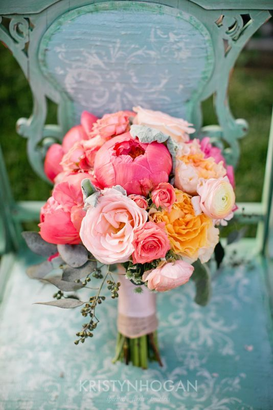Chair & Bouquet #cedarwoodweddings Mint and Coral Cedarwood Wedding | Cedarwood Weddings