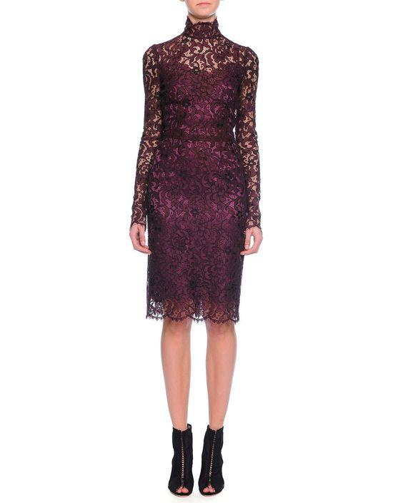 Long-Sleeve Floral-Lace Scalloped Sheath Dress, Aubergine