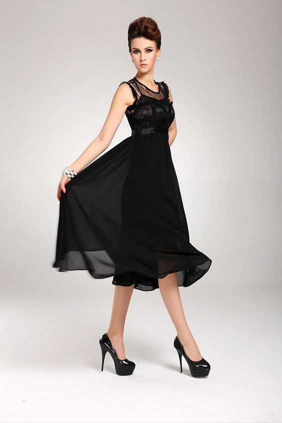 Lovely O Neck Tank Sleeveless Black Chiffon Mid Calf Dress ...