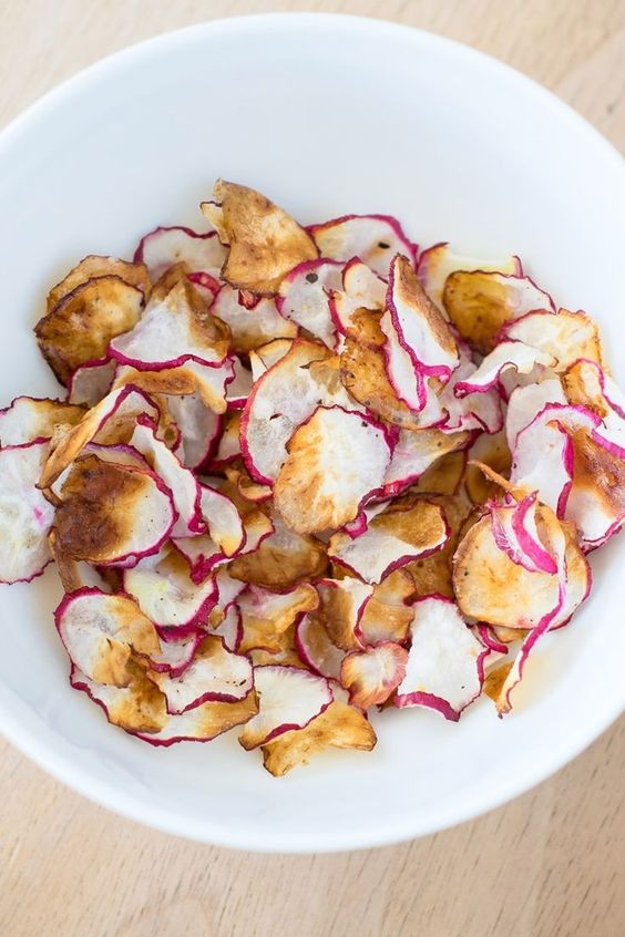 Low Carb Baked Radish Chips Recipe  - Low Calorie, Paleo, and Vegan
