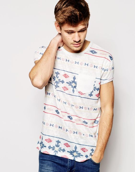 ASOS T-Shirt With Aztec Stripe And Relaxed Skater Fit