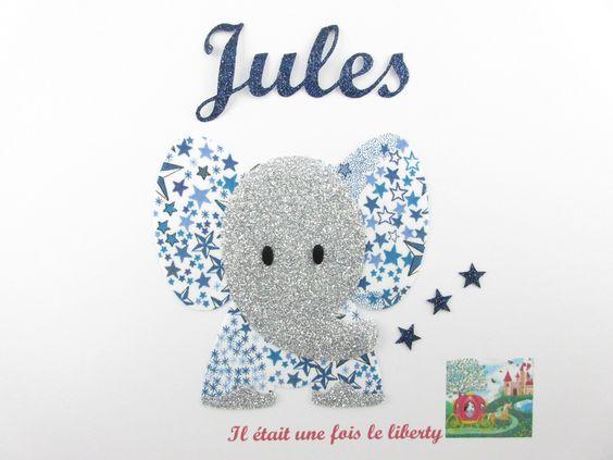Appliqués thermocollants Petit éléphant et prénom personnalisable en tissu liberty Adelajda bleu. : Tissus par il-etait-une-fois-le-liberty