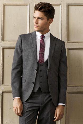 Buy Grey Textured Suit: Jacket from the Next UK online shop | Work