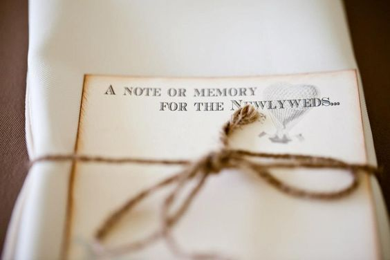 Guests leave a note to bride and grooom