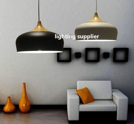 pas cher bois lampe moderne pendentif en bois clair et lampe en aluminium noir blanc restaurant. Black Bedroom Furniture Sets. Home Design Ideas