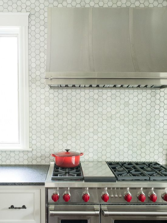 Love The Unique Hexagon Backsplash For The Home Pinterest White Shaker Cabinets Shaker