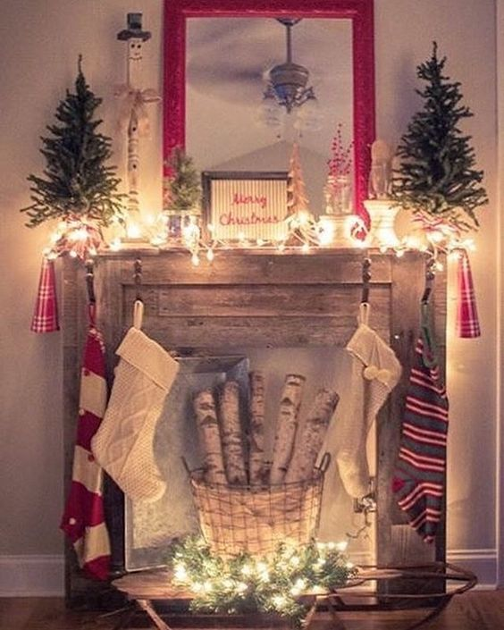 Faux fireplace from pallet wood
