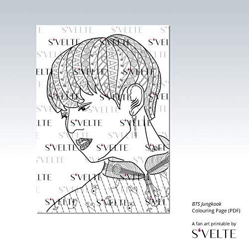 Kpop Coloring Bts Jungkook Digital Colouring Page For Adults A