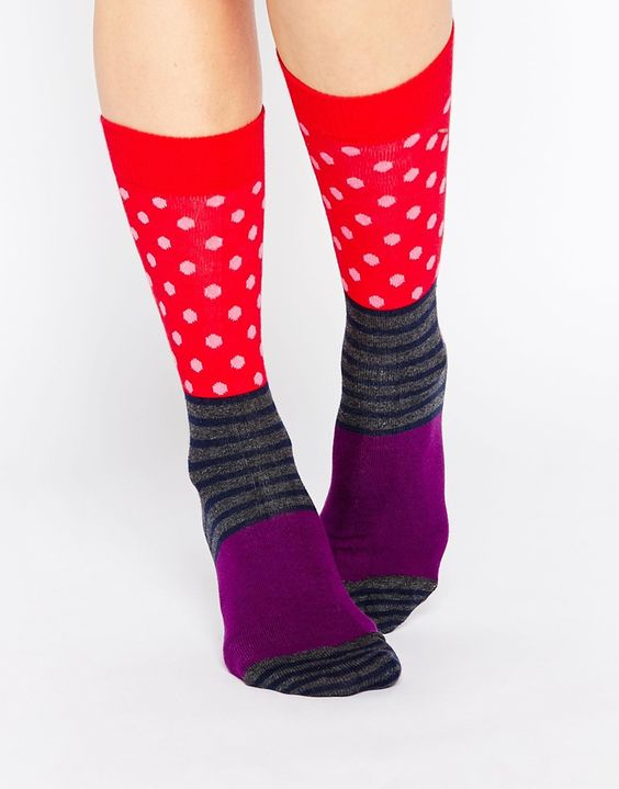 Socken von Happy Socks Stoff mit hohem Baumwollanteil gerippte Bündchen Blockfarbendesign Maschinenwäsche 80% Baumwolle, 17% Polyamid, 3% Elastan