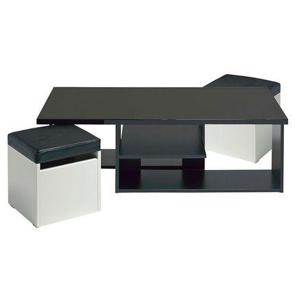Table basse 2 poufs egerie noir ultra brillant 150 for Table ultra basse