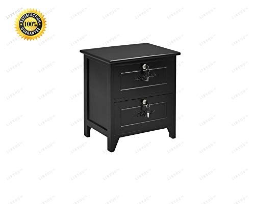 Libyou Nightstand End Table Wood Night Stand Locking Drawer