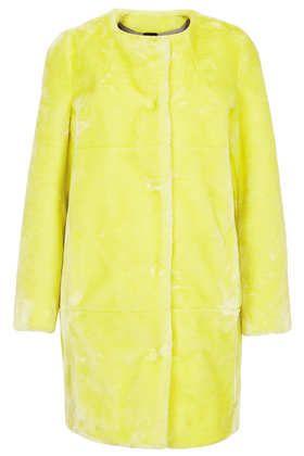Faux Fur Collarless Coat- fur jacket Downtown Los Angeles