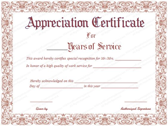 Editable Years Of Service Award Certificate #award - certificate of appreciation examples