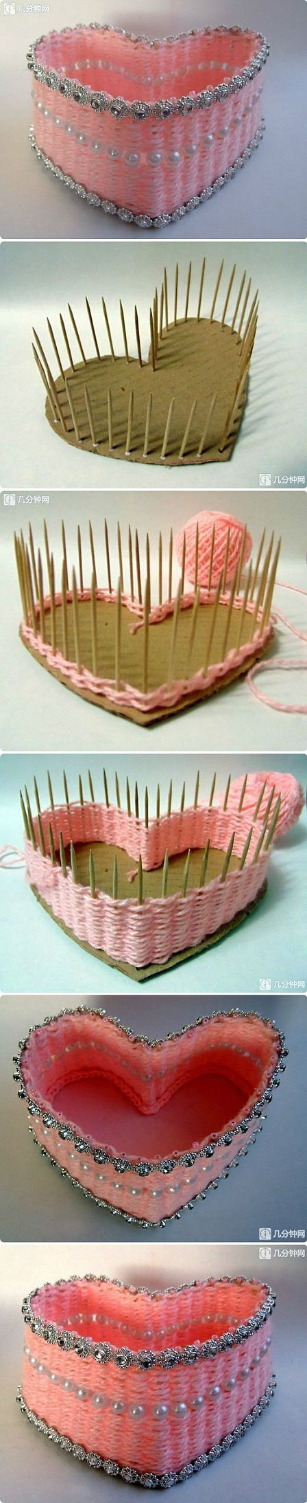 Yarn crafted heart using a heart shaped piece of cardboard (or foamboard) toothpicks and a small amount of yarn, and decorative embellishments!: