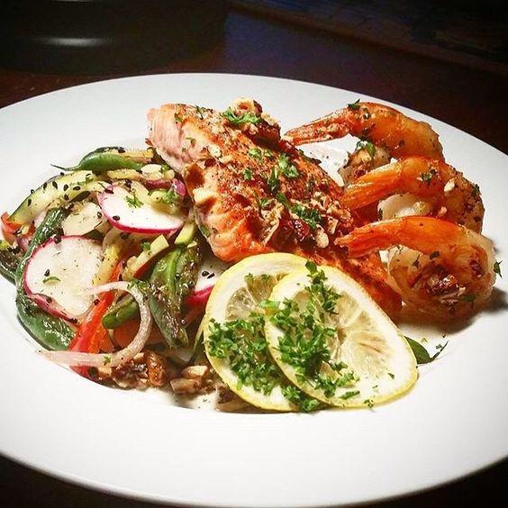Honey Garlic Veg. Salmon and Prawns with Bacon, Hazelnut Brown Butter. Weekend madness!