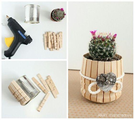 Mary mani creative-vasetti con piante grasse rivestiti con mollette