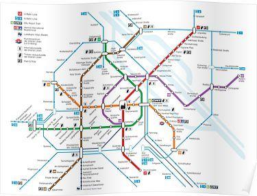 Wien Subway Map.Vienna Subway Poster Vienna Tourist Map Metro Map Train Map