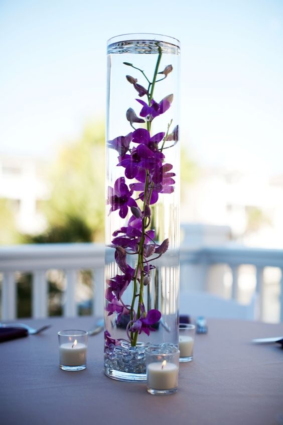 Water centerpieces and flower on pinterest