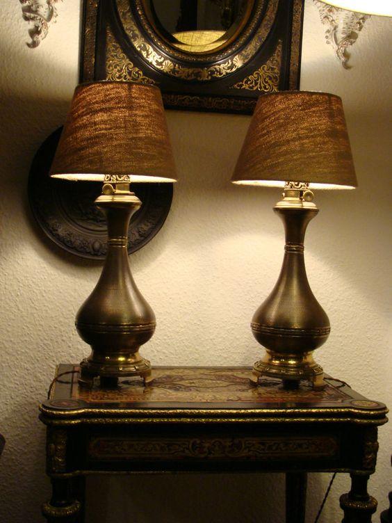 Paar Lampen Historismus Prunklampen Bronze um 1880 Petroleumlampen Tischlampen