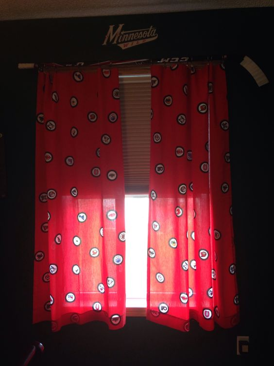 Curtains Ideas curtain rings home depot : Purchased vintage hockey curtains from Etsy and clearance hockey ...