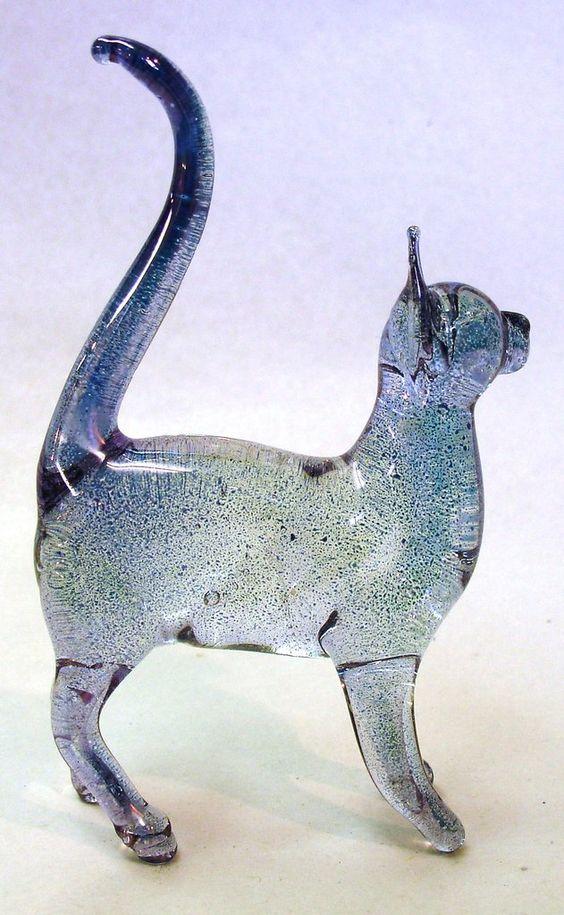 Glass Cat Figure: