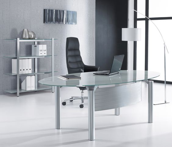 Office Furniture: Minimalist Oval Glass Office Desk For Executive