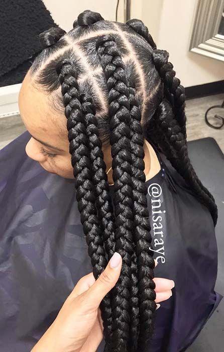 43 Big Box Braids Hairstyles For Black Hair Stayglam Braided Hairstyles Big Box Braids Hairstyles Big Box Braids