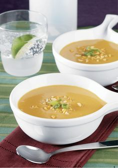 Spicy Peanut Soup – This creamy soup recipe, with a sweet potato and peanut butter base, is a beauty on any dinner menu. By letting the flavors simmer you'll create a taste profile that's unique and complex. Finish this dish with a garnish of roasted peanuts, black pepper, and green onions.